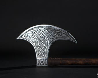 DISCOUNTED PRICE! Axe Head with Viking design; Moon Shape Axe Head