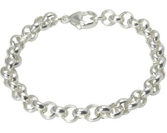 Sterling Silver 925 Pea Bracelet 7.2 mm