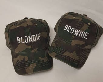 Blondie and Brownie Dad Hat Camo and White Best Friends Blonde Brunette