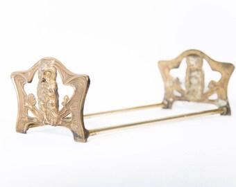 Expandable Brass Owl Bookends Art Nouveau Telescoping Book Rach 1910s Judd Manufacturing