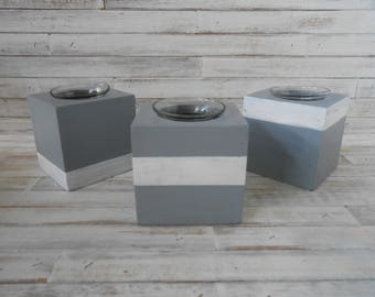 Gray and White Wood Candle Cube Holders - 3 PIECE SET Gray and White Wood Candle Blocks-Wood Votive Holders-Tea Light Candle Cubes- Cubes-