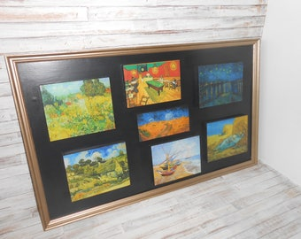 Repurposed Wall Art-Upcycled Wall Decor-Vincent Van Gogh Collage Decor - Unique Vintage Frame Vincent Van Gogh Wall Collage-Wall Decor Art