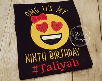 Emoji Birthday Emoji Applique shirt - Customizable -  Emoji Birthday Shirt 113a #ninth
