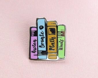 SALE Literature Ladies Enamel Book Pin -  Book Enamel Pin Badge, Feminist Pin, Jane Austen, Bronte, Sylvia Plath, Virginia Woolf - Book Love