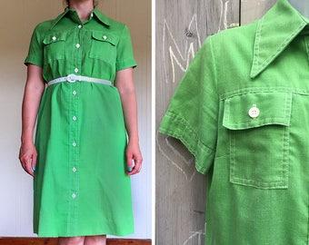 "Vintage dress | 1960s ""Country Miss"" green A line shirt dress shift"