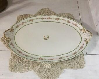 Chas Field Haviland, Limoges vintage platter, GDA France, shell handled sides, 1900 - 1940, extra large, serving dish, tableware