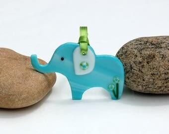 Fused Glass Elephant Ornament
