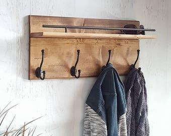 entryway wood shelf coat hooks wood entryway organizer floating shelf wall mounted