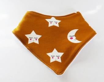 6-12 months baby BANDANA bib star and moon mustard and white towel