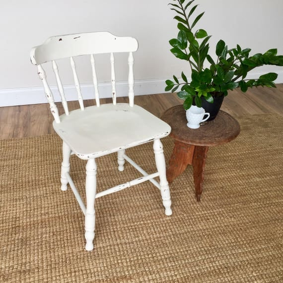 White Kitchen Chair - Farmhouse Dining Chair - Country Chic Furniture - Small Dining Chair - Vintage Dining Chair - Wooden Dining Chair