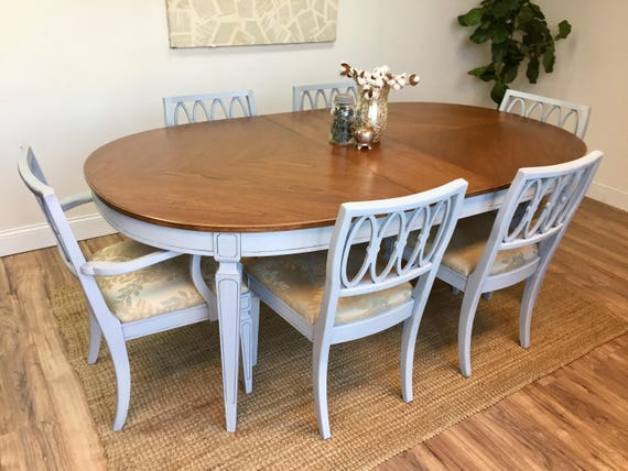 Dinner Table Set - Mid Century Furniture - Vintage Dining Room Set - Hollywood Regency Furniture, Blue Dining Chairs, Shabby Chic Furniture