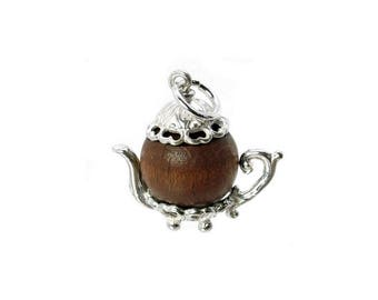 Sterling Silver Lucky Touch Wud Wood Teapot Charm For Bracelets