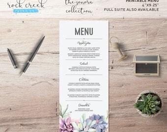 The Sonora Collection Printable Wedding Menu