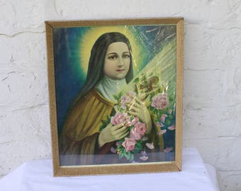 St Therese Lithograph /  Vintage Jesus Art / Kitschy Wall Art / 1940s Religious Wall Hanging / Vintage 40s Wall Hanging / Religious Art