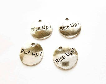 4 Antique Silver Rise Up Disc Charms - 21-43-12