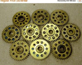 ON SALE Brass Clock Gears - Steampunk Jewelry Findings - set of 10 - G75