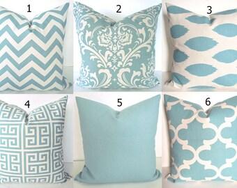 PILLOWS Blue Chevron Decorative Pillow Covers 16x16 18x18 20x20 Spa Blue Chevron Pillow Covers .All Sizes.  Lumbar Home Living Home Decor