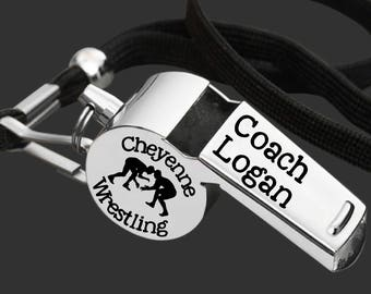 Wrestling Coach | Coach Whistle | Coach Gift | Gift for Coach | Coach Appreciation | Personalized Whistle | Engraved Whistle | Korena Loves
