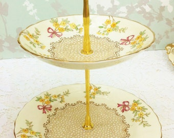 Flowers and Bows 2 Tier Mini Cake Stand