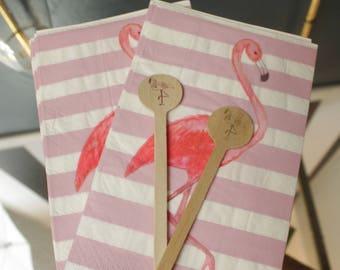Flamingo Stripes Paper Guest Towel or Dinner Napkins