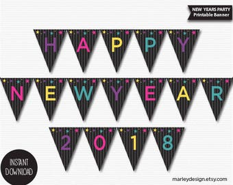 New Years Decorations New Years Banner Printable New Years Party New Years Party Decor Stars Kids New Years Wall Decor Digital Download DIY