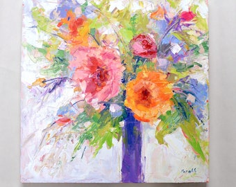 Rustic Flower painting, Rustic fall decor,Palette Knife Modern Impressionist,Original Oil ,Texture Painting, Abstract Floral, Square art