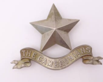 Vintage British Military Hat Cap Badge Cameronians Scottish Rifles Regiment Puragee 1900 Pipers