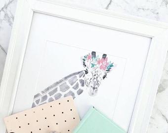 Giraffe Print, Animal Print, scandi and nordic decor, wall print, wall art, monochrome print, wall decor, children wall art - 8x10'