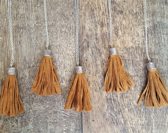 Brown Tan Suede Fringe Tassel Necklace
