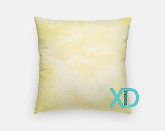 Yellow Watercolor Pillow, Yellow Pillow Cover, Paint Design Pillow Case, Watercolor Design, Yellow Home Decor, Decorative Pillow Case, Sham