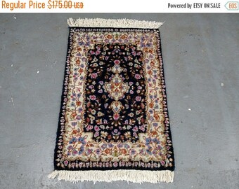 SUMMER CLEARANCE 1970s Vintage, Hand-Knotted, Kerman Persian Rug (2802)
