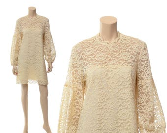Vintage 60s Indorables of California Cream Lace Shift Dress 1960s Sheer Poet Sleeves Carnaby Street Hippie Boho Wedding Dress / M / L