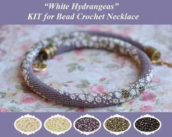 Bead Crochet Necklace KIT Bead Crochet Rope Pattern Vintage Style Jewelry Making Kit Crochet Necklace Beaded Necklace DIY