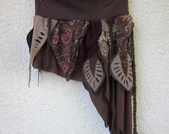 brown tribal skirt, festival clothing
