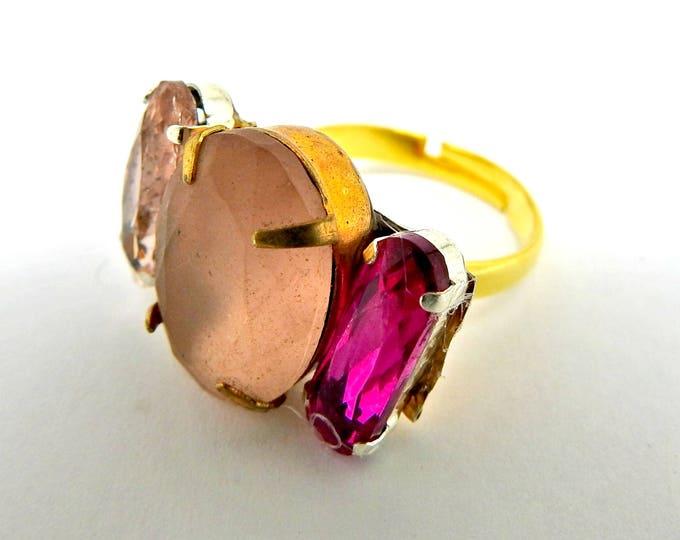 SPRING trends PINK rhinestone RING