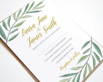Olive Branch, Watercolour, Greenery Wedding Invitations, Green Wreath, Botanical Wedding - SAMPLE