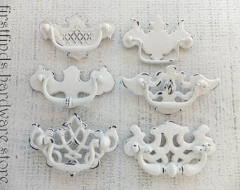 6 White Shabby Chic Drawer Pulls Furniture Handle Swing Hardware Vintage Dresser Chippendale Cabinet Painted Misfit 3inch ITEM DETAIL BELOW