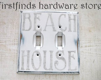 Light Switch Cover Plate Double Electrical White Blue Black Beach House Shabby Chic Wood Painted Graphic Toggle Distressed ITEM DETAIL BELOW