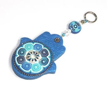 CIJ SALE Hamsa Polymer clay wall decor, Good fortune Hamsa in blue, white and turquoise