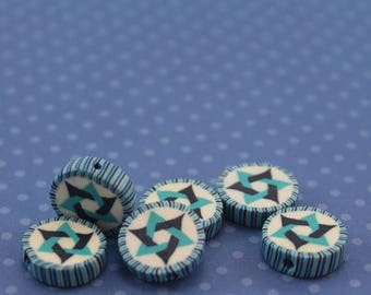 CIJ SALE Star of David beads, polymer clay round flat beads, Jewish Symbol in blues turquoise and white, set of 6 Polymer clay beads
