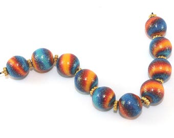 Handmade Polymer clay beads in blue, yellow and red, elegant round ombre glitter beads, strips beads for Jewelry making, 10 unique beads