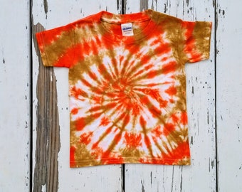 Tie Dye Toddler Tee // Orange and Amber Spiral // Gildan 3T Toddler T Shirt