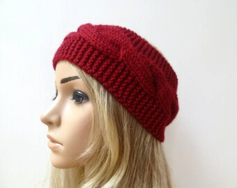 Red Wool Cable Headband - Women Hand Knitted Headband - Red Wool Cabled Ear Warmer - Women Aran Eco Friendly Headband - Clickclackknits