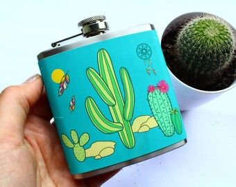 Cactus Print Hip Flask Desert Dream Catcher Drink Gift