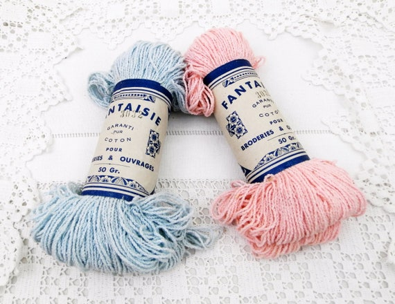 2 Vintage 50 gm / 1.75 oz Balls of Cotton Twine / Yarn Pink and Pale Blue for Embroidery, Knitting and Crochet Dating the 1930s from France