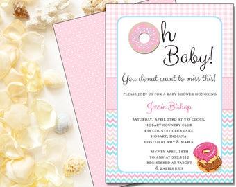 Oh Baby Donut Invitation | Baby Shower | Printable Digital File | BSI388DIY