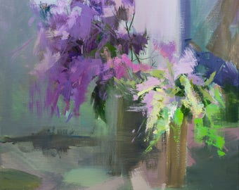 Large Painting of Lilacs, Oil Artwork on Canvas, Painting Flowers Art, Floral Painting, Still life artwork