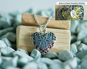 Filigree Heart Oil Diffuser Necklace - Add a Hand Stamped Initial Charm!