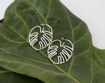 Hawaiian Leaf Hoop Earrings- Sterling Silver