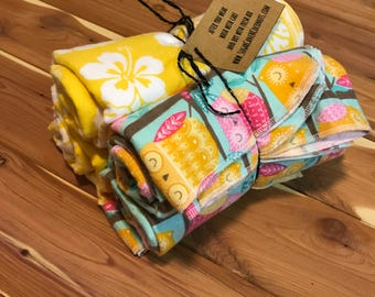 Owl and yellow Hawaiian floral print baby swaddling blankets set of 4